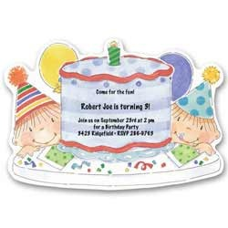 Blue Cake Baby First Birthday Invitations