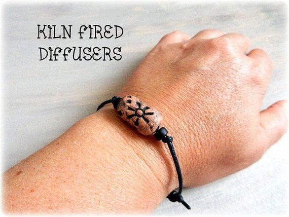Black Tribal Sun Essential Oil Diffuser Bracelet for Men or Women, Adjustable