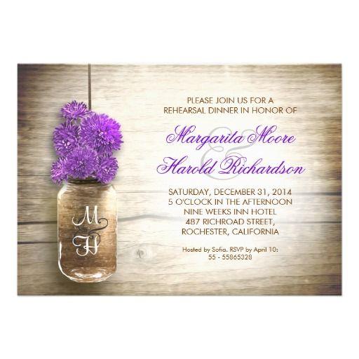 mason jar and purple flowers rustic rehearsal dinner invitations
