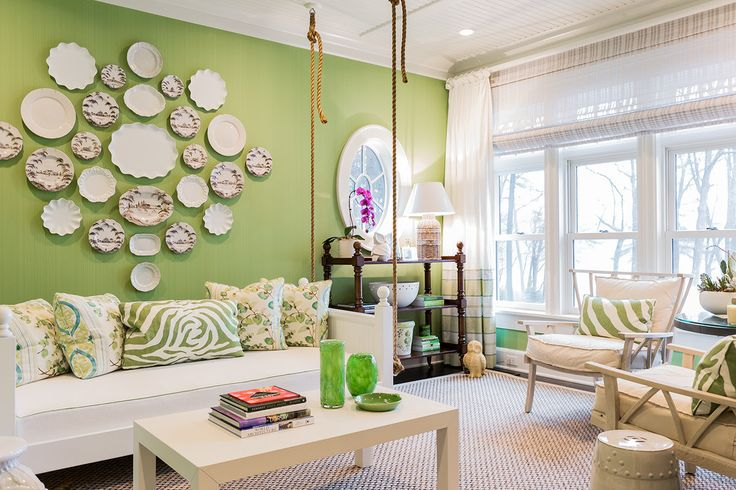 Lime accent wall living room eclectic with rocking chair globe floor lamp wallpaper
