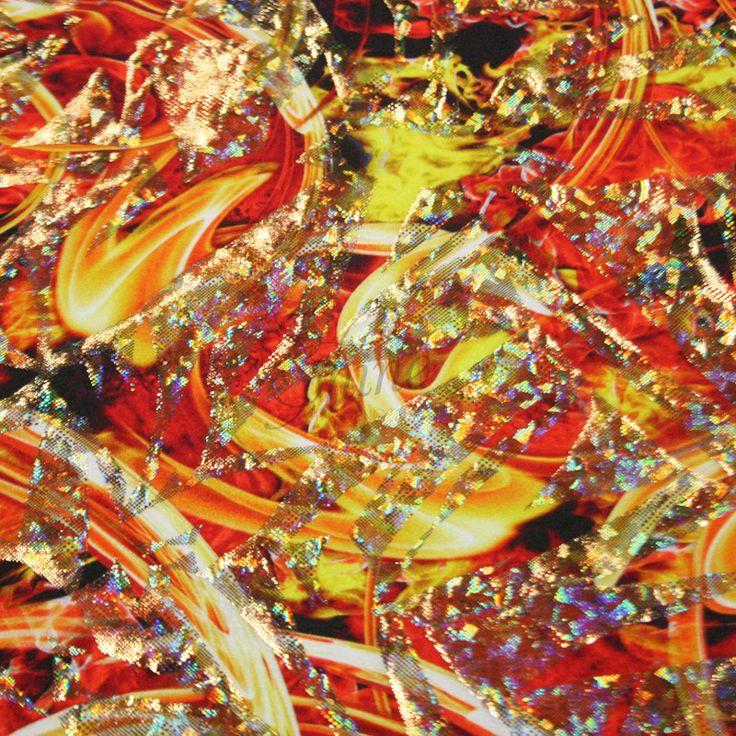 Fireball Frenzy Spandex   Shine Trimmings & Fabrics