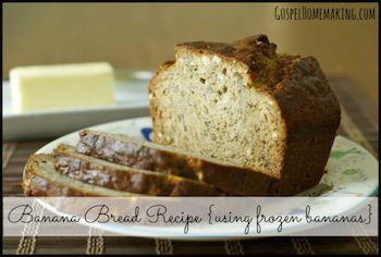Banana Bread Recipe Using Frozen Bananas from gospelhomemaking.com