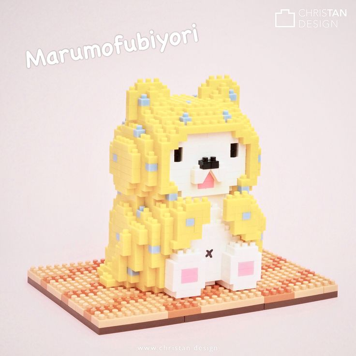 My nanoblock Marumofubiyori =D ... a new character from Sanrio. He's a white bear cub that is always wrapped in his favorite blanket and loves to laze around at home =)  ... https://www.sanrio.com/categories/marumofubiyori  I had to desaturate the colours in my photo in order to make the bright yellow bricks look more like the pale pastelly colours of Marumofubiyori.  #marumofubiyori #moppu #sanrio #nanoblock
