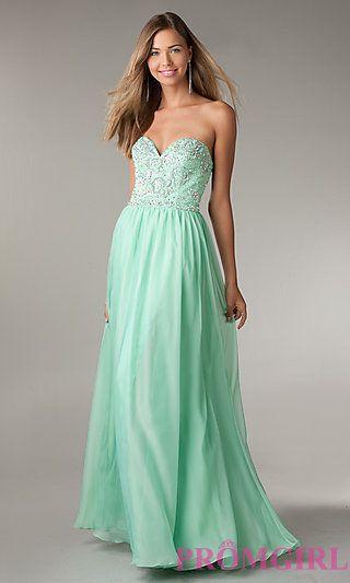 Full Length Open Back Strapless Beaded Gown by Flirt at PromGirl.com
