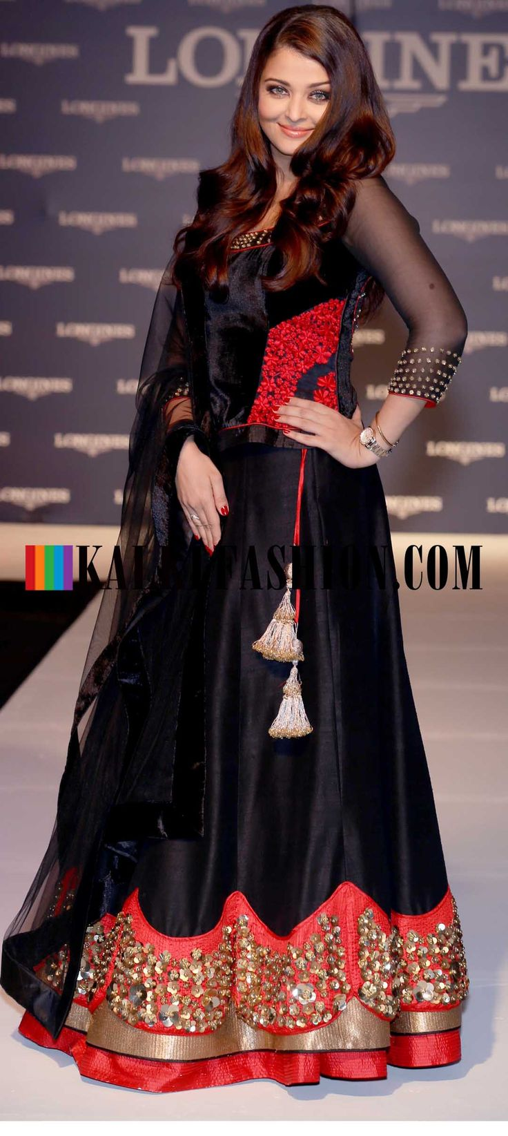 http://www.kalkifashion.com/  Aishwariya Rai in beautiful black designer lehenga by Monica and Karishma at Longiness watch in India Compaign .