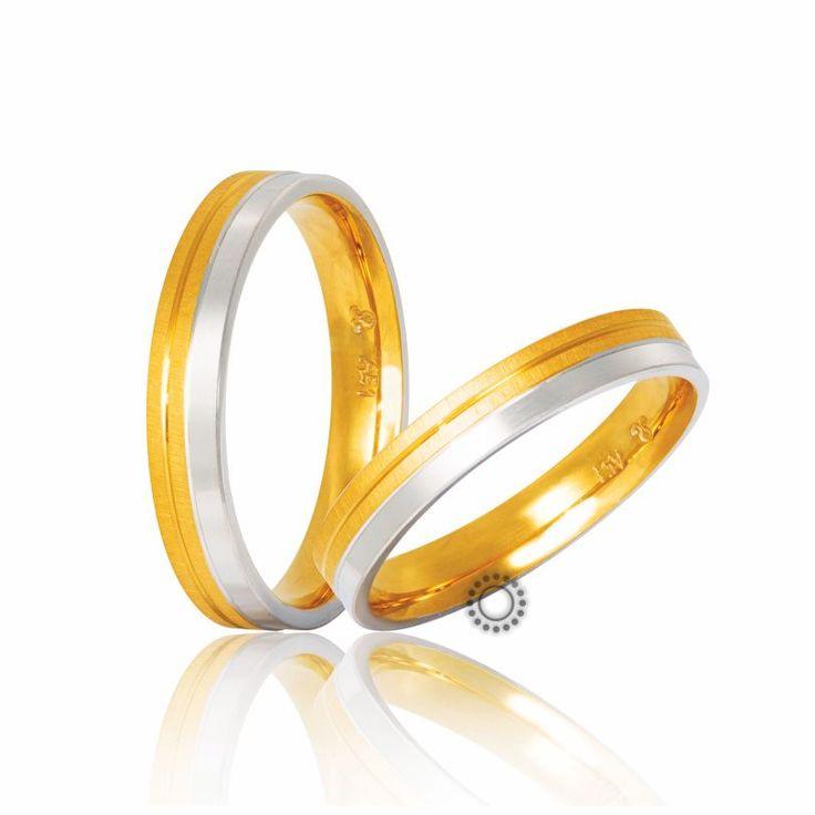 Βέρες γάμου Στεργιάδης S-7-YW | Πρωτότυπες ανατομικές δίχρωμες βέρες σε γυαλιστερό λευκό και διαμανταρισμένο ματ κίτρινο φινίρισμα | Κοσμηματοπωλείο ΤΣΑΛΔΑΡΗΣ #βέρες #βερες #γάμου