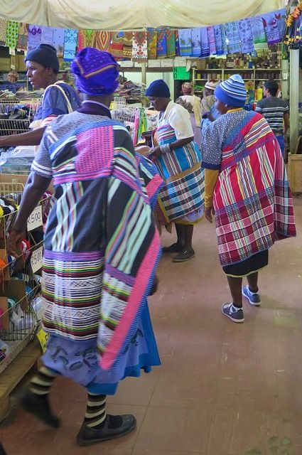 Venda women arriving in the fabric store while we were shopping there. Limpopo Province South Africa.