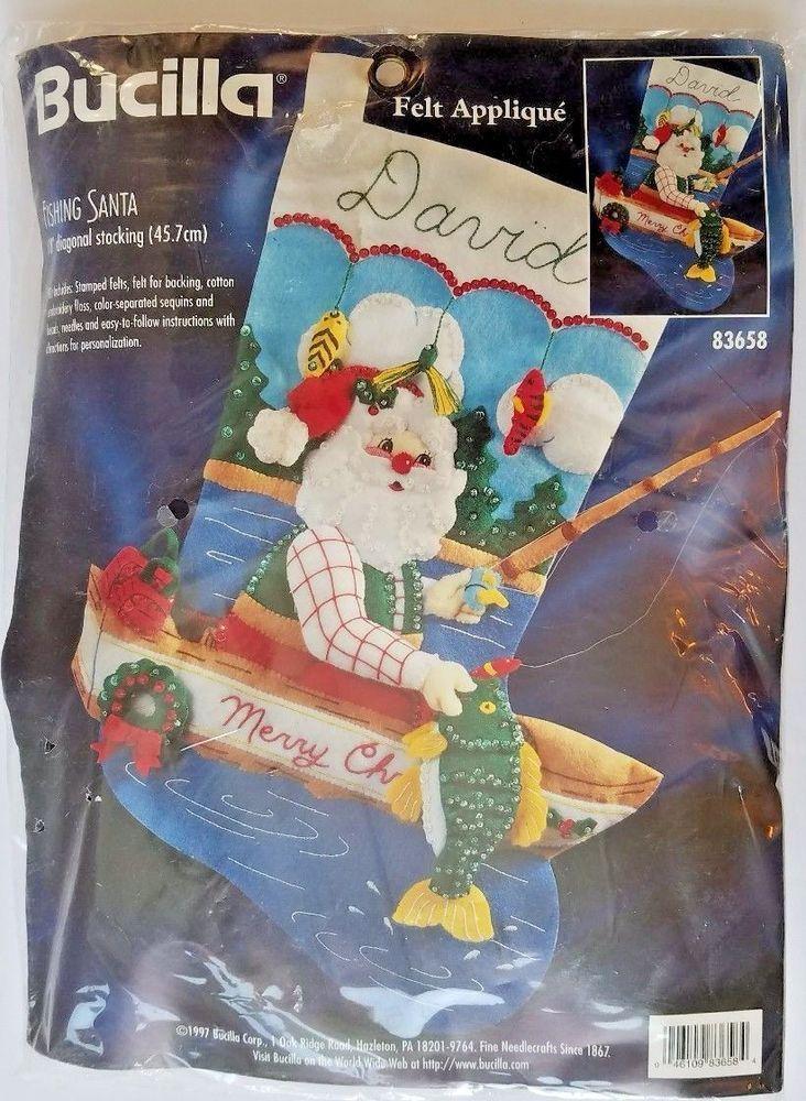 Bucilla 83658 Fishing Santa Christmas 18 Inch Stocking Felt Applique Kit 1997 #Bucilla #christmascrafts #appliques