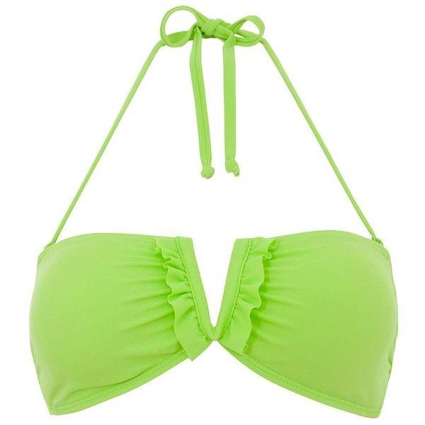 Green Bandeau Frill Halterneck Bikini Top (17 BRL) ❤ liked on Polyvore featuring swimwear, bikinis, bikini tops, bikini, swimsuit, bathing suits, beachwear, green, swimsuits bikinis and bandeau bikini tops