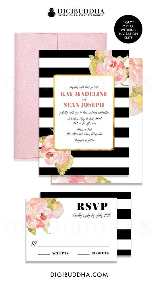 Black & White stripe 2 piece wedding invitation & RSVP suite with beautiful boho chic watercolor blush pink painted flowers.  Gold accents and modern typography paired with beautiful whimsical calligraphy.  Matching colored envelopes and striped envelope liners also available, only at digibuddha.com