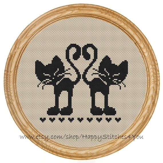 Cross Stitch Pattern PDF love cats DD0005