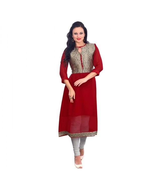 Maroon Embroidered Kurti Just @Rs.1,772 55% OFF   Click Below To Buy:- http://www.ethnicstation.com/maroon-embroidered-kurti-rc5599  #EmbroideredKurti #EthnicWear