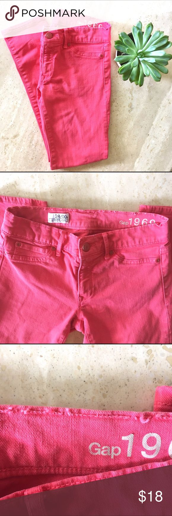 Gap Pink Legging Jeans Super comfortable and stretchy Gap Legging jeans in a lovely pink/coral color. Lightly faded and with some distress at stitching due to wear (see photos) but otherwise excellent condition! Gap 1969. Size 24/00p. Length is good for shorter ladies :) GAP Jeans Skinny