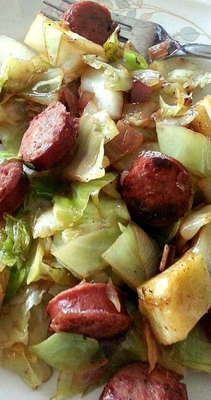Kielbasa, Cabbage and Potato Bake