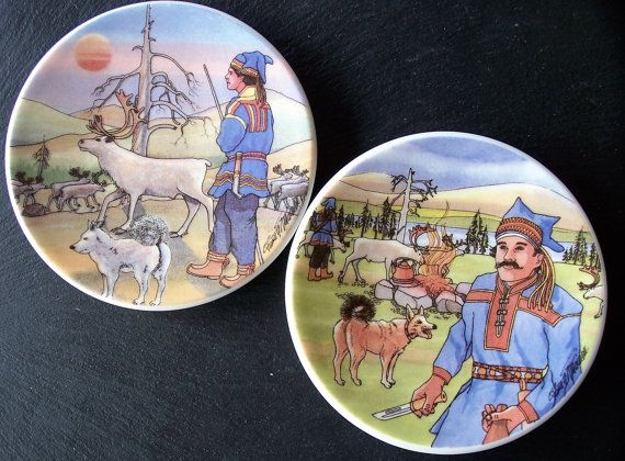 Arabia Finland Pair Decor Plates Sami Finnish by IngliVintage