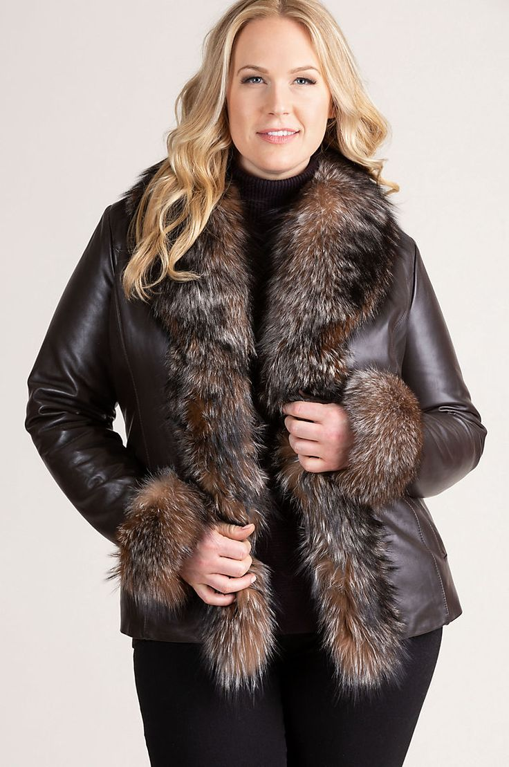 Marilyn Lambskin Leather Jacket with Frosted Fox Fur Trim