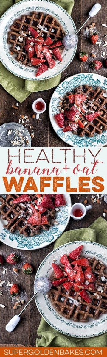 These healthy banana oat waffles are gluten and refined sugar free and can be made dairy-free by replacing the buttermilk with soy milk.