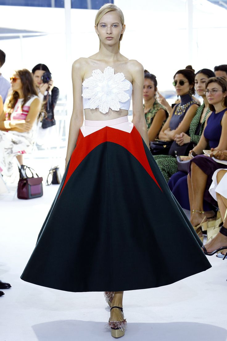 Picture the top with faded jeans and a floppy hat, and it works. Delpozo Spring 2016 RTW.