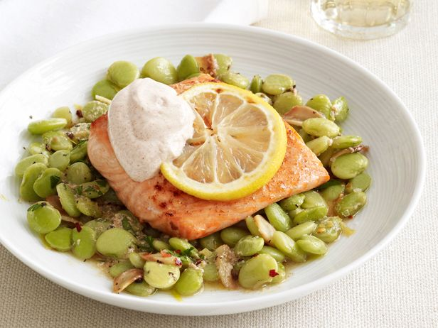 Lemon Salmon with Lima Beans Recipe : Food Network Kitchens : Food Network - FoodNetwork.com
