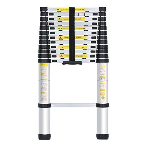 Echelle Télescopique Portable Aluminium 13 Echelons Capacité de 150 Kg Multifonction Echelle de 84 cm à 3.8m