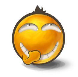 Emoticon laughing so secretly