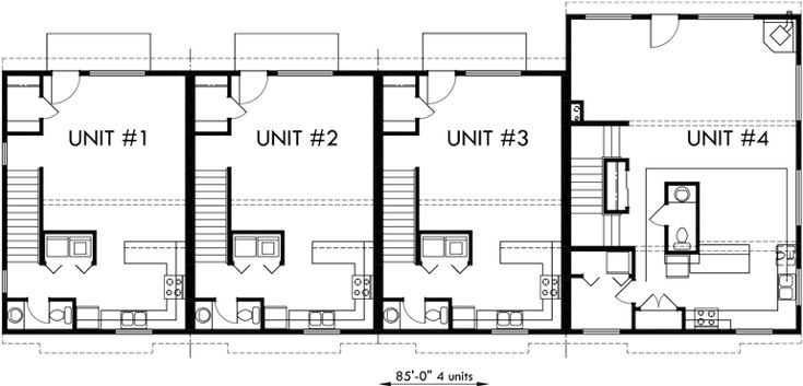 101 best triplex and fourplex house plans images on for Fourplex plans