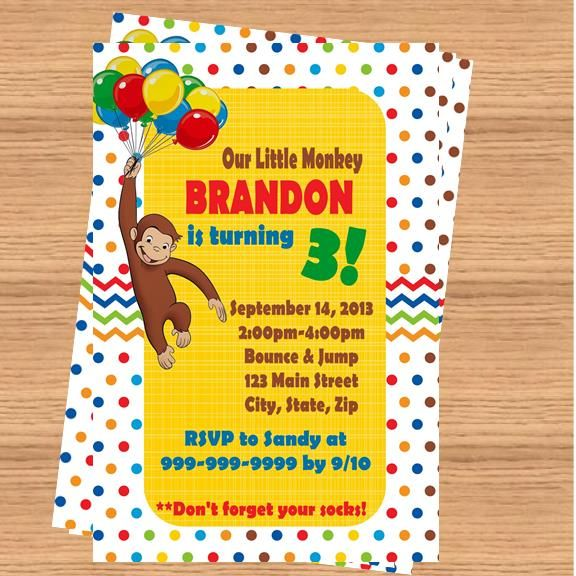 54 best curious george party images on pinterest | curious george, Party invitations