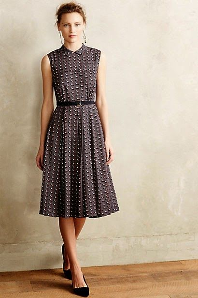 Black and white pattern sleeveless midi dress by Orla Kiely.