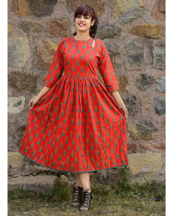 Red Cotton Printed Anarkali Kurti