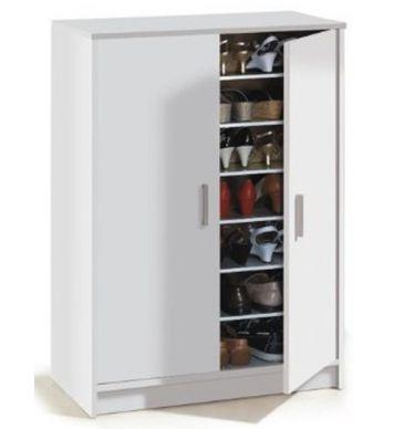 Armoire à chaussures ADEL avec 2 portes et 6 étageres ( 30 paires ), coloris blanche - Dim : 101 x 75 x 36 cm. 99 eur. Meuble à chaussure.fr