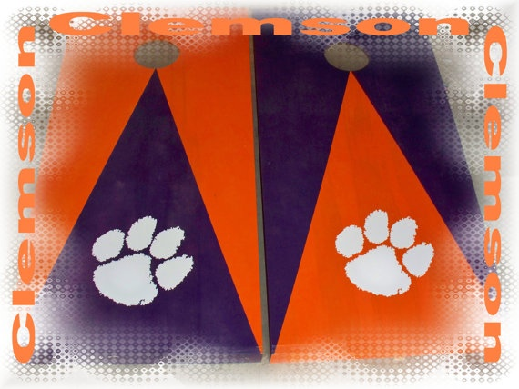 Cornhole Boards full set Clemson Tigers by thisandthatbyv on Etsy, $99.99  (Click on the picture to go to my Etsy store or look at my other boards for more cornhole items) Facebook page: Southern Michigan Cornhole