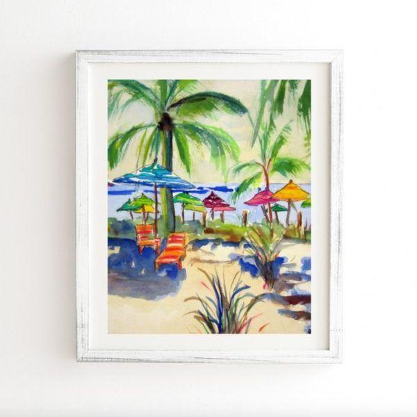 beachy framed wall art – weathered white frame