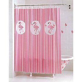 Tropical Pink Flamingo Vinyl Shower Curtain: Animal Shower, Pink Flamingos, Vinyls Shower Curtains, Bathroom Shower Curtains, Flamingos Vinyls, Curtains Models, Bathroom Accessories, Flamingos Shower Curtains, Flamingos Bathroom