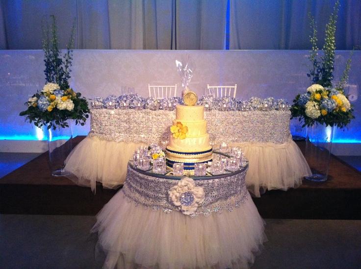 White And Silver Wedding Decor Head Table WeddingGirlca