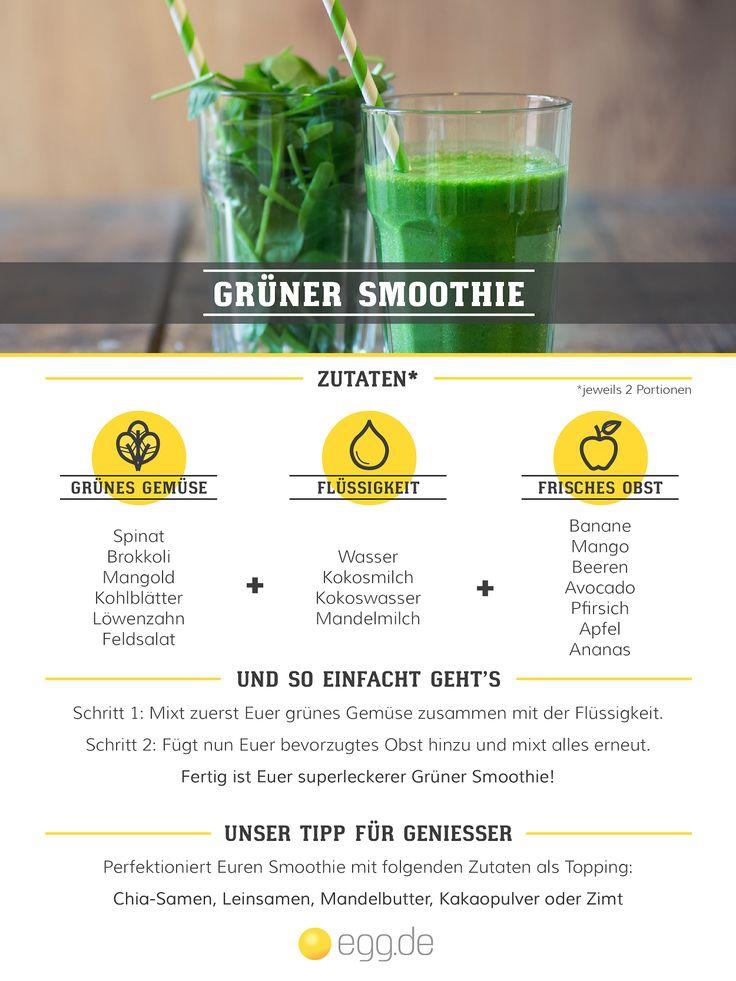 So einfach bereitet Ihr Euch Grüne Smoothies zu - viel Spaß! #rezepte #smoothie #healthfood