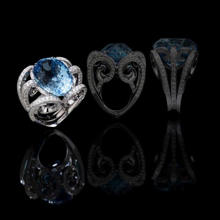 Scavia BETTY Oro bianco, diamanti e acquamarina oval cut