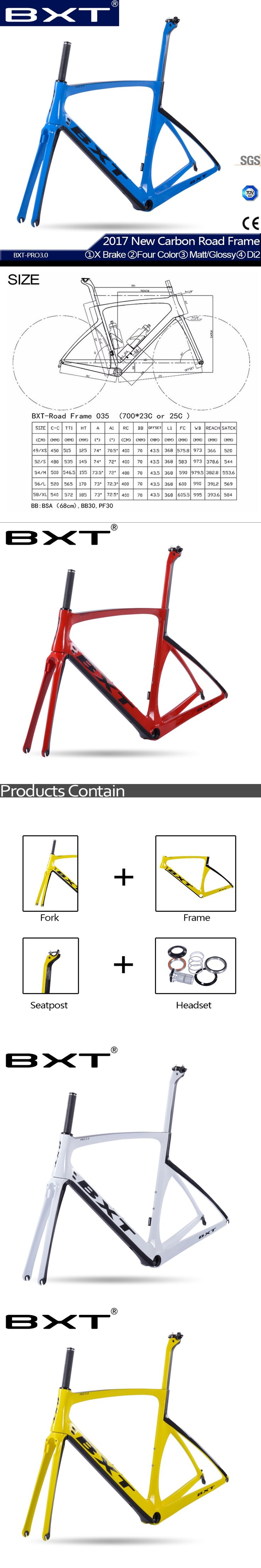 T800 carbon road frame 2017 BXT New bicycle carbon road bike frame 49/52/54/56 bicycles cheap carbon frame road bike Free shippi