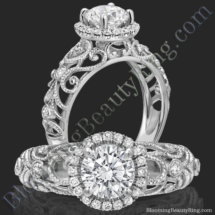 La Bella - Filigree Diamond Halo Engagement Ring - bbr669