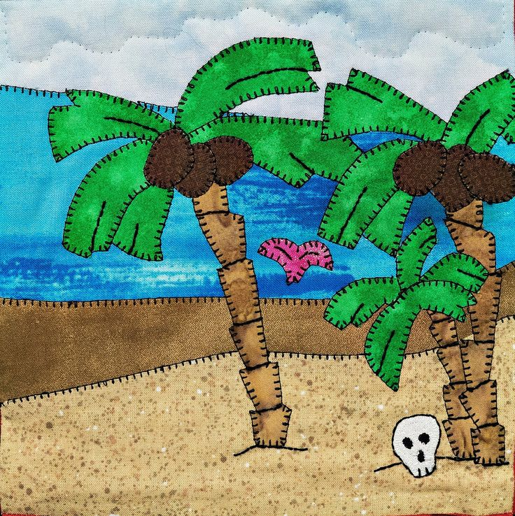 Desert island beach scene PDF applique quilt block pattern; baby boy or child's pirate quilt pattern; Ms P Designs USA by MsPDesignsUSA on Etsy