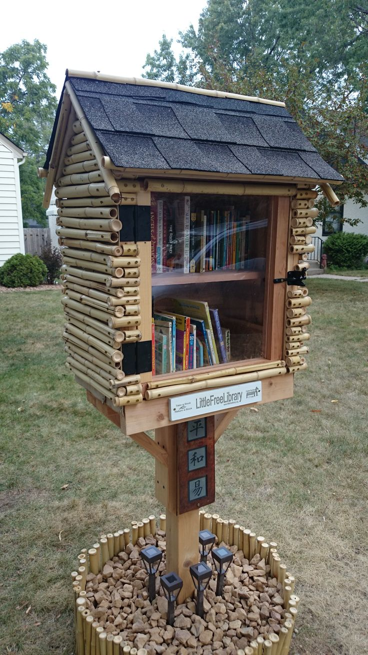 Bridget Hirata. Minneapolis, MN. Our Little Free Library is something our children and I always wanted to have. Upon moving into our new home, this was put on the to do list. My husband created this library from his own design, using left over bamboo fencing pieces from our fence that he recently bought. We read a lot in our home and love the idea of sharing our books with neighbors and the community.