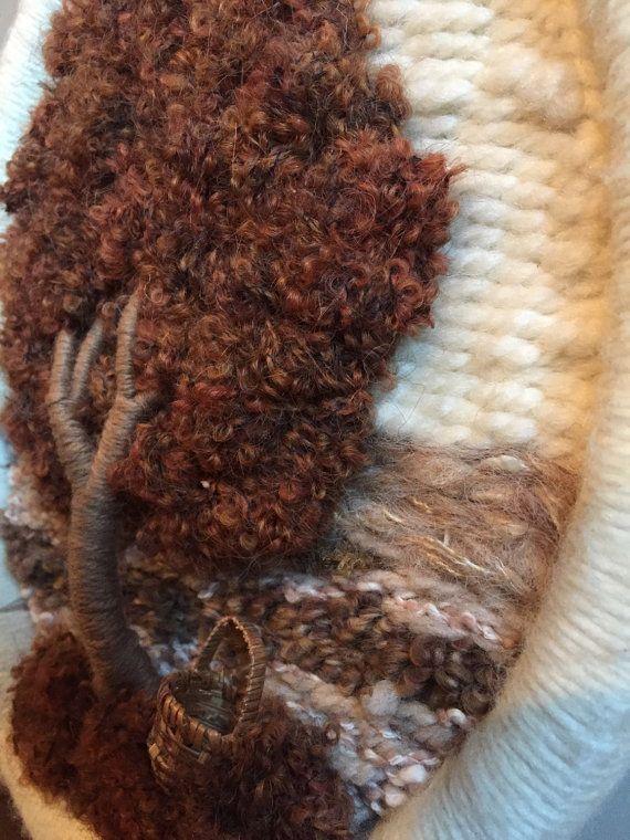 Vintage 70s Fiber Art tessitura albero della vita cesto lana