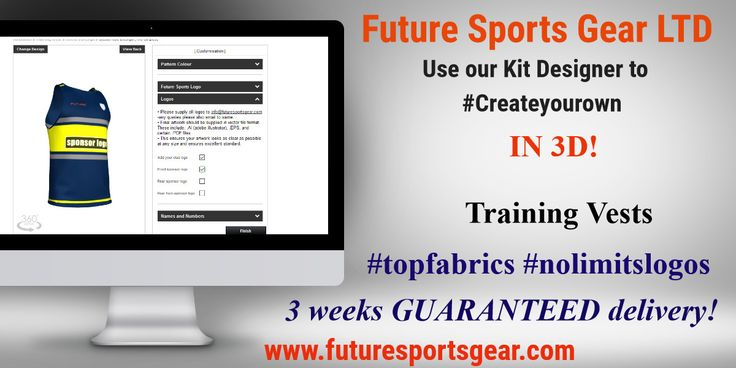 Training vests-Use our 3DKitdesigner to build your clubs design! #sponsors/names/logos etc 3wk guaranteed delivery!