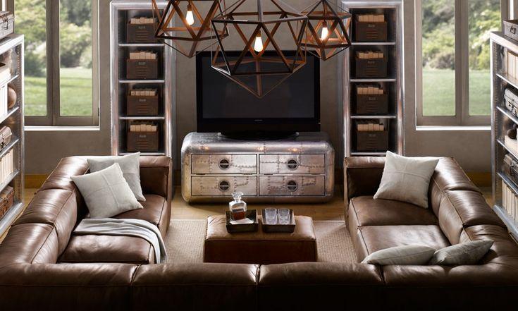 love the U shaped sectionalLiving Rooms, Restoration Hardware, Man Room, Livingroom, Restorationhardware, Pendants Lights, Tv Stands, Industrial Living, Man Caves