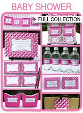 Baby Shower Printables, Invitations & Decorations – girl (polkadot)