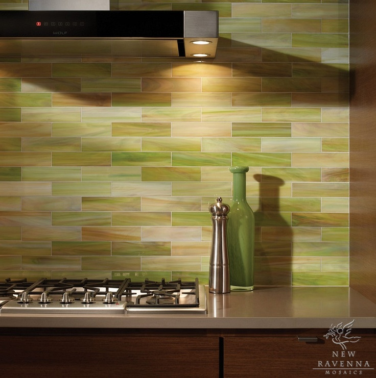Mosaic Tile Apartment Ideas: A Peridot Jeweled Subway Tile In A Brick Pattern