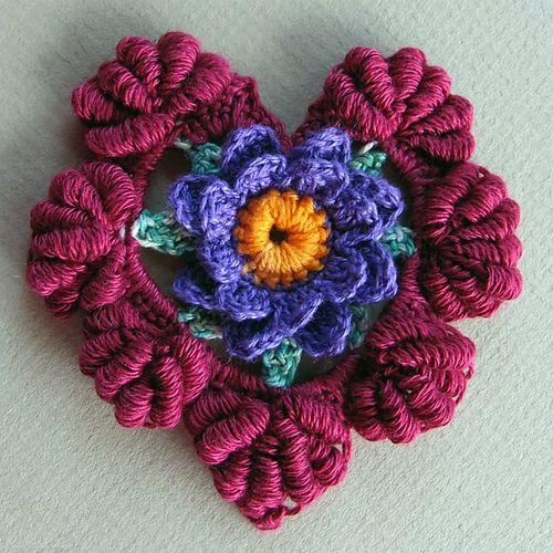 Crochet Floral Fantasy Valentine Heart - Tutorial