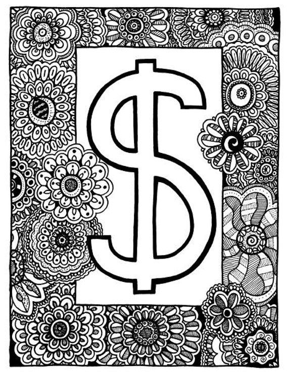 Dollar Sign Coloring Page Coloring Book Page Printable Adult