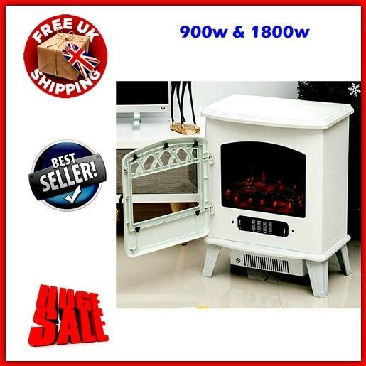 Vintage Electric Fireplace Space Heater Stove Fan LED Flame Light Freestanding