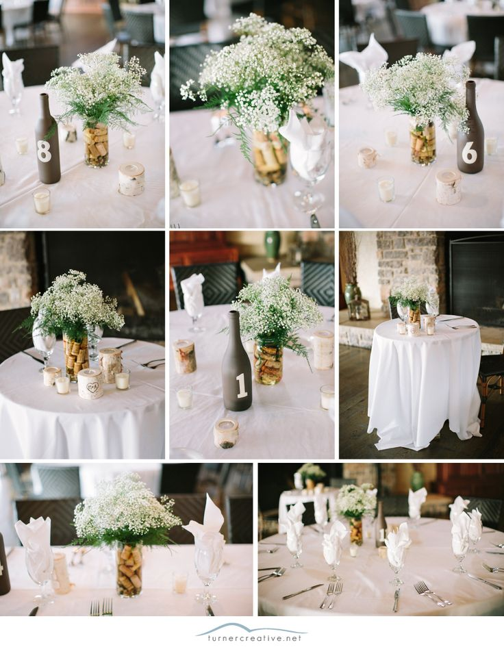 ideas for rustic wedding reception%0A Painted bottles and corks make simple yet lovely decorations on these  tables at a rustic vineyard wedding    Turner Creative Photography  Bottle  Flower