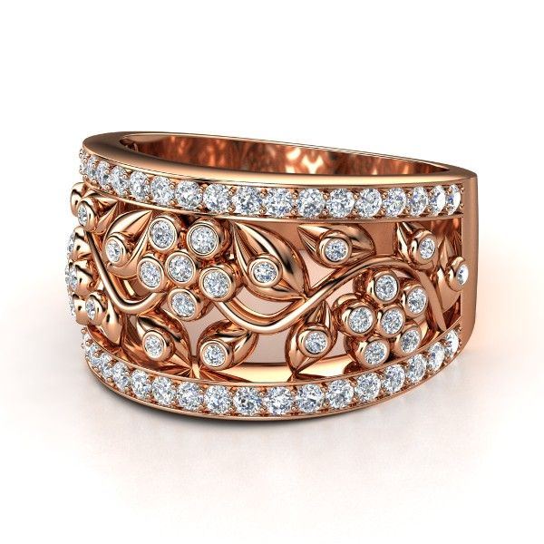 14K Rose Gold Daisy Chain Ring